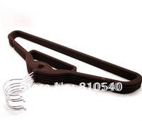 ABS plastic velvet flocked non-slip shirt hanger with tie bar and hook