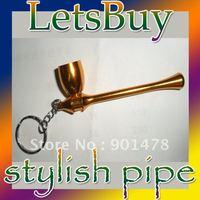 *Free Shipping:: Magic Aluminum Tobacco Smoking Pipe Keychains Metal Pipes 20 Pcs /  Lot