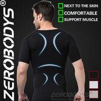 Fast Shipping ZEROBODYS Comfortable Mens Body Shaper Short Sleeve Undershirt 349 BK For Slimming Underwear Casual Shirts For Men
