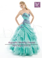 APB0215 2012 Popular Sweetheart Turquoise Organza Purple Beaded Full Length Prom Dress