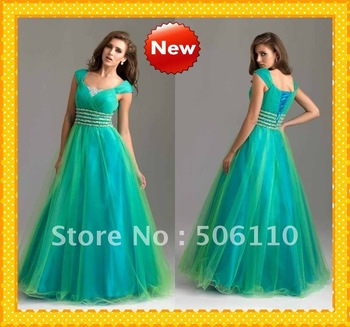 Custom  Modest Spring Green Cap Sleeves Organza A-line Sequins Beading 6583 Evening Dresses Formal Party Prom Dress Gowns