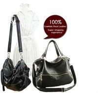 FREE SHIP-Factory Price Hot Fashion Fringe Women's Tote Black Genuine leather(Real Leather)Handbag Shoulder Bag Messenger Purse