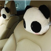 U1 wholesale cute cartoon panda head pillow car headrest auto neck pillow 1 PAIR