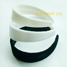 3.8cm VELVET Headband in wholesale price (5pcs/lot),use for Sinamay Fascinators or hair ornament.black,white,ivory cream color.(China (Mainland))