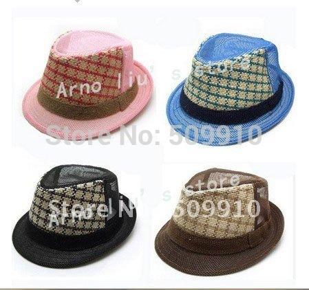 Checked children summer linen fedora hat, baby jazz cap, kids cowboy hat, linen sun hat 10pcs/lot Free Shipping(China (Mainland))