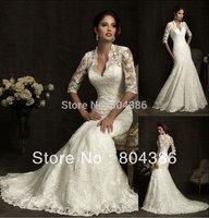 W1581 V-neck Wholesale discount half sleeves mermaid style designer lace wedding dresses 2015