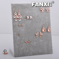 Free Shipping Attractive and Durable 60 Holes L Size  Silver Gray Cantboard Velvet Jewelry Earring  Display