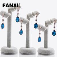 Free Shipping Cute 3 Burgeen Shape Silver Gray Earring Display Set Earring Holder