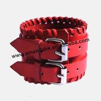 100pcs/lot, real leather bracelet,British punk style fashion bracelet,4 colors available cheap wholesale bracelet.