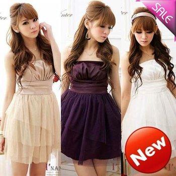 2014 Real Natural Chiffon A-line O-neck Women Dress Vestido De Festa Free Shipping New Women Straps Dress Ladies Clothing Hst2