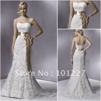 SMT095 Free Shipping Hot Sales Strapless Champagne Bridal Belt Corset Back Lace 2014 Designer Wedding Dress Mermaid