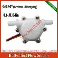 """Free Shipping G1/4"""" (DIN6) direct plug Hall-effect Water Flow Sensor,0.15-1.5L/min;0.2-2.5L/min;0.3-3.5L/min,Food grade Nylon"""