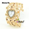 1pc Stainless steel Bracelet charming Jewelry Crystal watch Heart Golden Watch ,valentine Gift watch, FREE SHIPPING