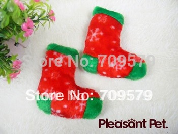 Free shipping 12Pcs/Lot Chew Stuffed Toy Red Snowflake Boots, pet dog toy