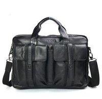 Free shipping , hot sell Genuine Leather Fashion men's brifecase,handsome shoulder/Messenger bag,handsome Handbag ,Zipper,Black,