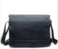 Free shipping , Hot sell Genuine Leather Fashion men's brifecase,cow leather handsome shoulder/Messenger bag ,Zipper,Black