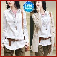 Free shipping sale woman 2014 Spring New Korean elegant ladies lapel cotton long-sleeved shirts Blouses S M L XL