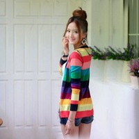 2012 new arrival ,free shipping,long sleeve Colored stripes knitwear ,fashion coat ,big size sweater ,long T-shirt!