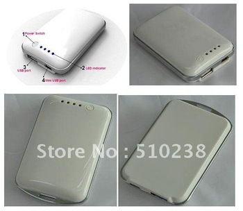 FREE SHIPPING white 3.7V 2200mAh portable mobile phone power bank with high quality(CE certificates)