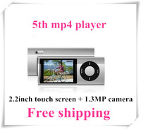 "Touch pad+shake songs,  2.2"" 5th Gen Music Mp4/Mp3 player, built-in 16GB memory, FULL SET Colorful 3pcs free shipping"