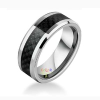 BLACK BEZEL SOLID CARBIDE FIBER INLAY TUNGSTEN WEDDING BANDS PATRY MENS RINGS NEW