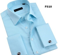 Men  dress slim fit  shirt  brand  long sleeve french cuff denim camiseta shirts  XS S M L XL XXL XXXL