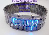 100pcs/lot LED Watch SHARP Lava Style Iron Samurai Metal Men's Women's fashion watches 2 styles 2 colors