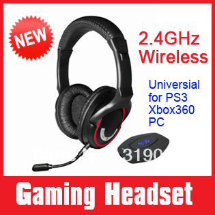 Rubber coated Universial wireless video gaming headset for PS3 XBOX 360 PC, Mac game consoles, removeable mic one year warranty(China (Mainland))