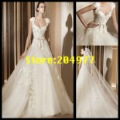 Free Shipping Hot Sale 2012 Vintage Lace A-Line Corset Cap Sleeve Bridal Gown Wedding Dress HS-09