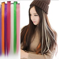 10pcs/lot  Colorful one clip-in hair extension straight hair piece 50~60cm  Hot sale!