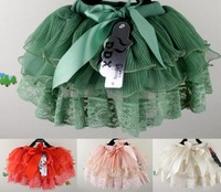 free shipping 2012 new arrival Girls short skirt wholesale lace style series lace bow,Wood ear,baby skirt 4pcs/lot,4colors