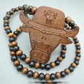 Buffalo Hip hop Color beads New fashion Good wood men pendant necklace