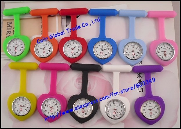 new heart shape silicone rubber colorful candy jelly fob nurse watch(China (Mainland))