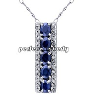 Sapphire necklace pendant Free shipping Natural sapphire with 925 silver pendants,1pc/jewelry box,with zircon# ALIE-7105