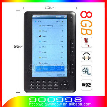 8GB E-book Reader 7inch Color  Screen 800X480 Ebook Reader + Speaker MP3 MP4