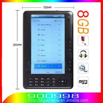 8GB E-book Reader 7inch Color  Screen 800X480 Ebook Reader + Speaker MP3 MP4