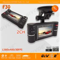 F30 Dual Camera Car DVR supports 2CH 1280*480 Recording + SOS Emergency Button + 2.7 inch Screen