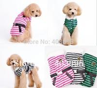 Cute Striped Design Winter Dog Jacket Warm Pet Waistcoat Fashion Bone Pattern Outerwear For Dogs