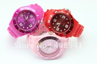 DHL Free Shipping+Silicone Watch 13 Colors+ Without Calendar Watch Without Any Logos,4.3cm dia,60pcs/Lot