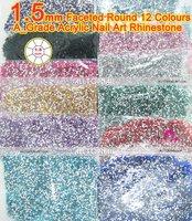 Free Shipping-12 colours 1.5mm flat back Round Nail art Rhinestone 240000pcs Nail Acrylic Rhinestones