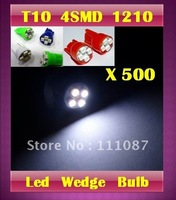 Sale ! 500 X T10 4 led 1210  3528 4 SMD clearance light194 168  High Power LED wedge Light Bulb-Red ,Blue,Green,White