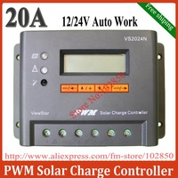 Free Shipping 20A,12/24V auto work,Adjustable/ programable off-grid solar system controller/regulator  VS2024N with big LCD