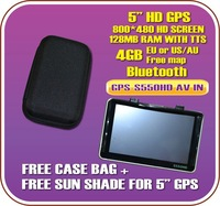 "Free Shipping 5.0"" HD BLUETOOTH GPS navigation+4GB MAP+HARD CASE+SUN SHADE"