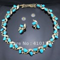 Min.Order $10 PN12367 Hot Sale Jewelry Set Gold Plated Clear Crystal Turquoise Blue Resin Beads 2012 New Free Shipping