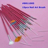 DHL Freeship-400sets/lot 15pcs Nail Art Design Brushes Gel Set Painting Draw Pen Polish Red Handle wholesales SKU:G0024XX