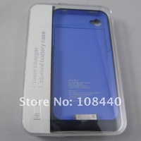 EMS Free Shipping 20pcs/Lot 1900mA Power Charger External Battery Case For iPhone 4 iPhone 4S