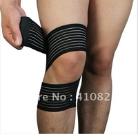 Nylon enlace  Knee Support  Safety 2014 Hot Sale  Black Color QH-712 Knee Wrap  brace sleeve Breathable Flexible For summer day