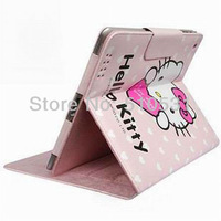 HOT Fashion Lovely cartoon hello kitty leather smart case for iPad 2/3/4,free shipping,RETAIL AND WHOLESALE