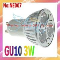 Wholesale 3W GU10 LED Spotlight AC 90-265V with Epistar chip Free shipping+3 year Warranty  # NE007
