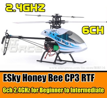 2.4G ESky Honey Bee CP3 rc helicopter 6ch RTF Radio control , White/Black Color for Beginner+ to Intermediate